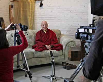 Lama Losang being filmed