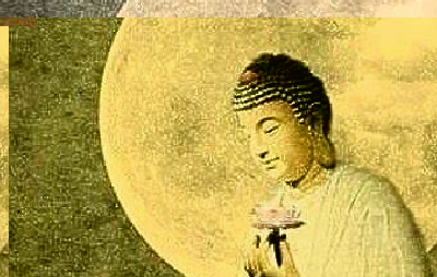 A Buddha holds a lotus flower in front of the moon